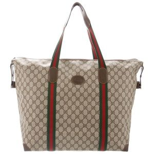 💯AUTH GUCCI WEB WEEKENDER BAG TRAVEL TOTE DUFFLE